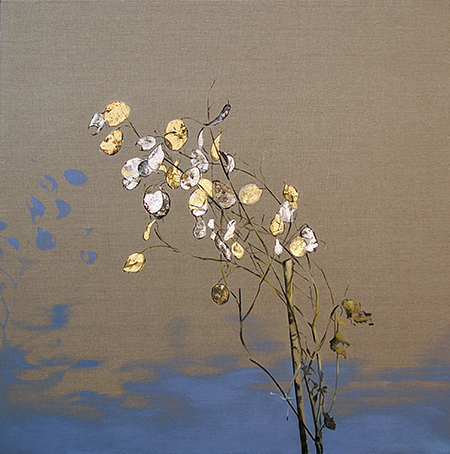 Money Plant oil, gold, silver leaf on linen 32x32, 2010 *