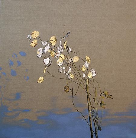 Money Plant oil, gold, silver leaf on linen 32x32, 2010 *