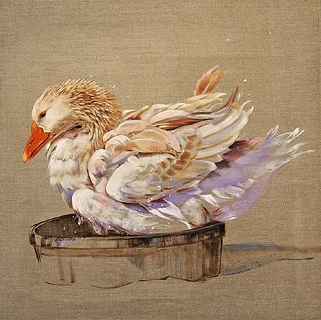 "Duck 1  oil on linen 16""x22""2011"