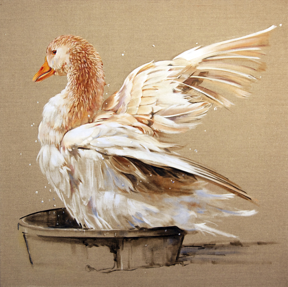 "Duck 3  oil on linen 26""x22"" 2011"