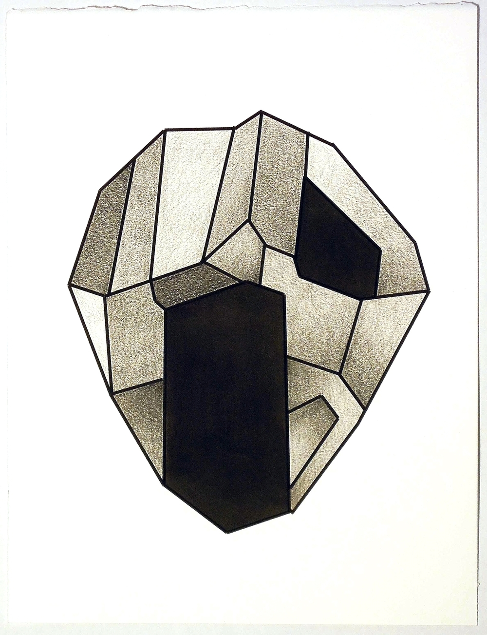 """Untitled,  injet print, stabilo, india ink on rives, 10 """"x 13"""" 2015"""