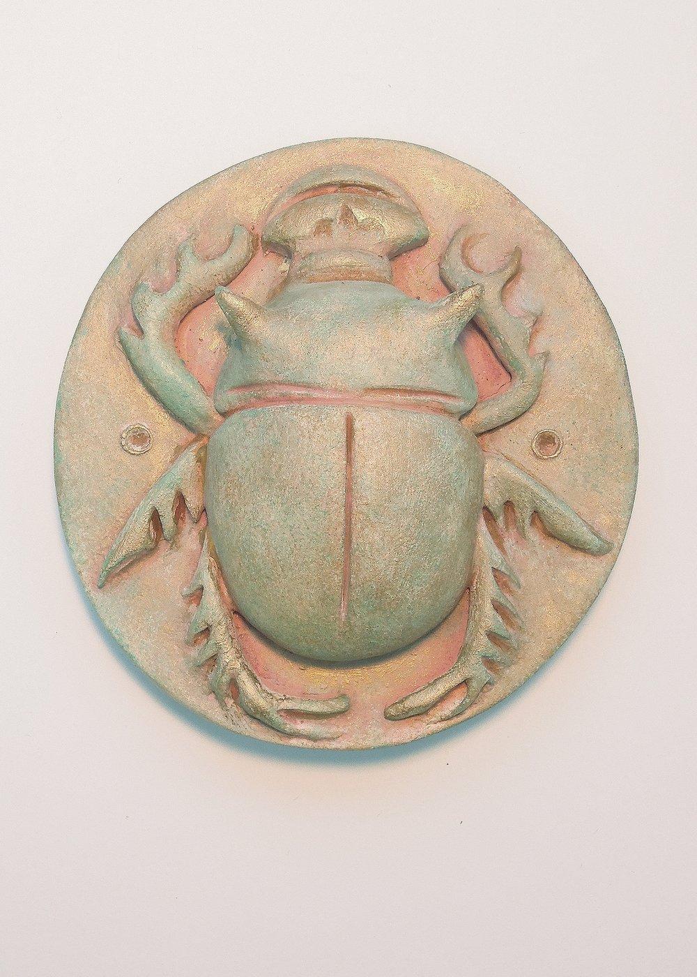 """Scarab #5  polychromed porcelain 3.5""""x 3.5"""" 2016"""