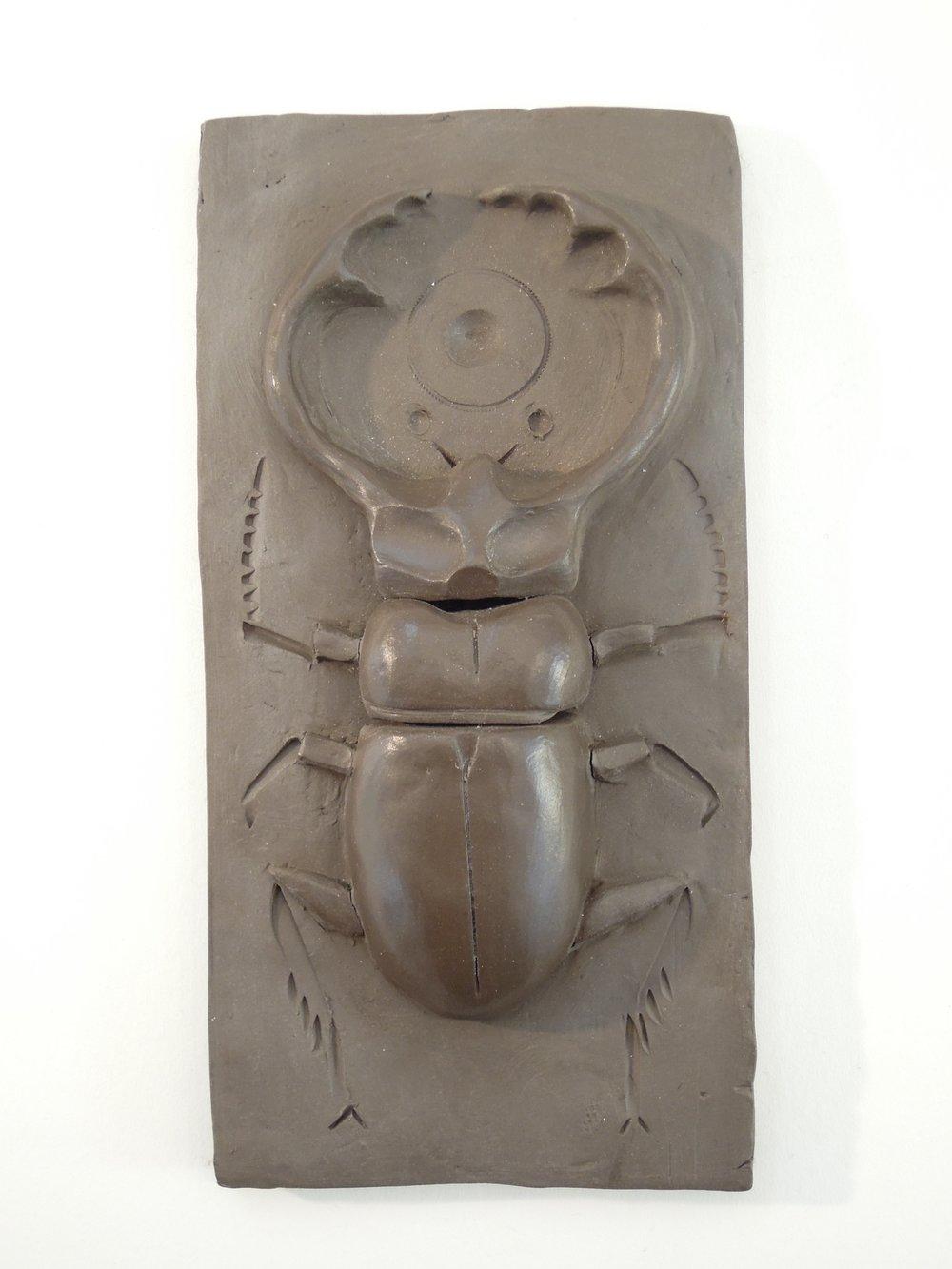 "#19 Staghorn Beetle terracotta 3.5"" x 7"" 2017"