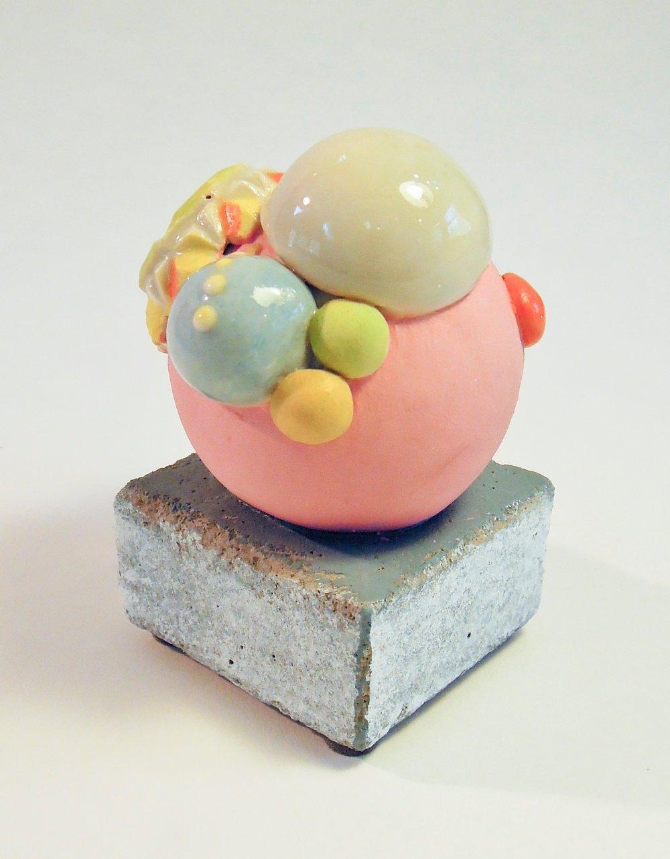 """'UN #1  glazed porcelain on concrete base, 3"""" x 2.5"""" 2017"""