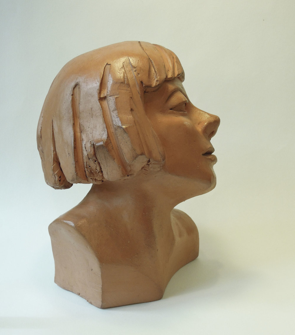 "Emmy Hennings: Puppeteer:  terracotta 9""x6"" 2018"