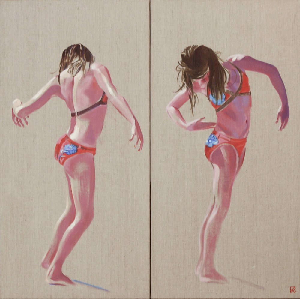 """Untitled Diptych  oil on linen on panel 24"""" x 24"""" 2009"""