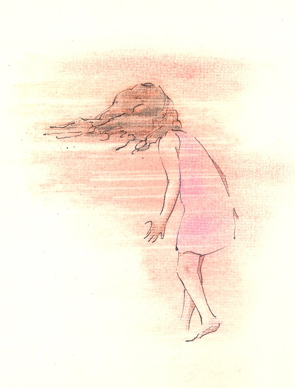 "Girl in the Wind  ink and pastel 4.5"" x 6"" 2009"