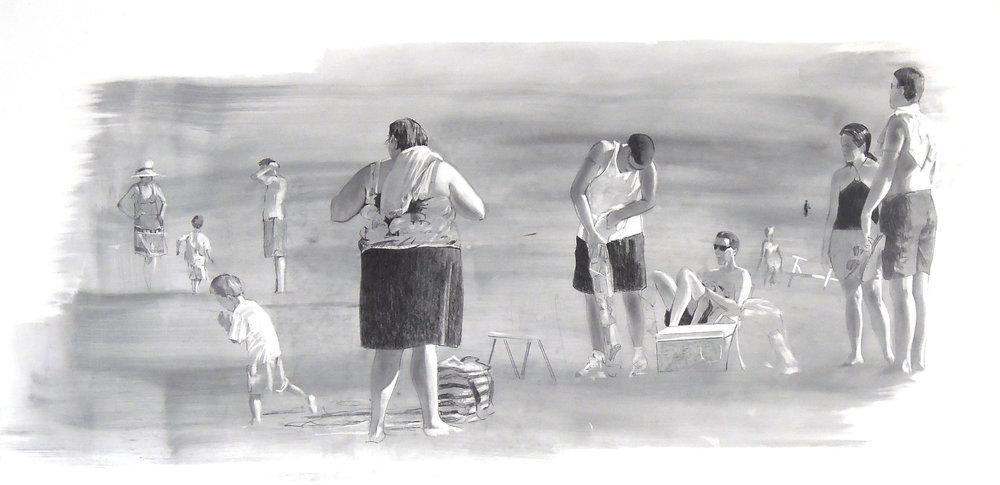 "Untitled  graphite 38""x 18"" 2007"