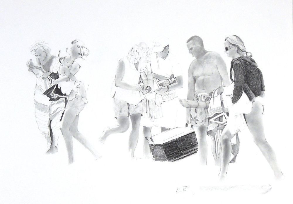"""Packing Up  graphite 20""""x 50"""" 2007"""