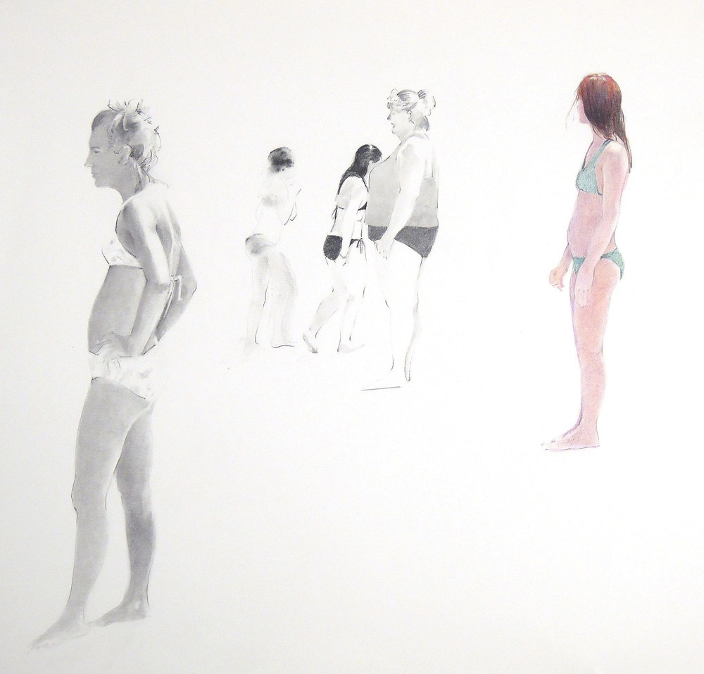 """Standing Group  graphite and colored pencil 22"""" x 22"""" 2008"""