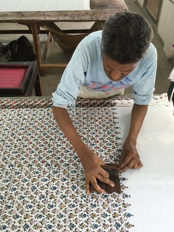 Expert block-printing artisan at work near jaipur