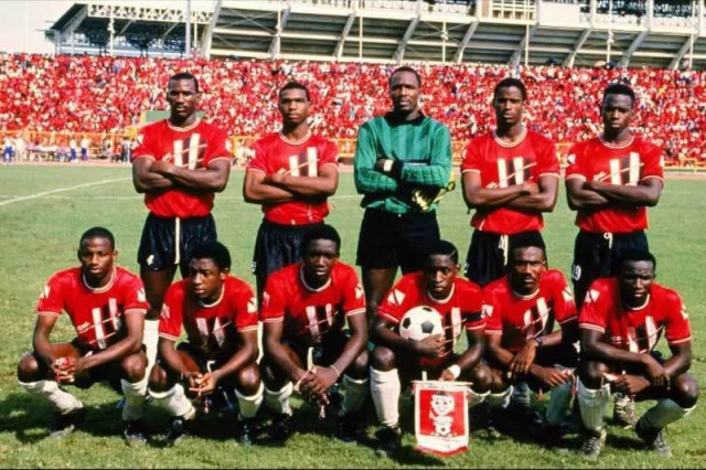 "Trinidad & Tobago National Senior team aka The ""Strike Squad"" revered for the culturally indigenous, rhythmic and attractive style of football that was orchestrated by ""Gally"" Cummings (1989)."
