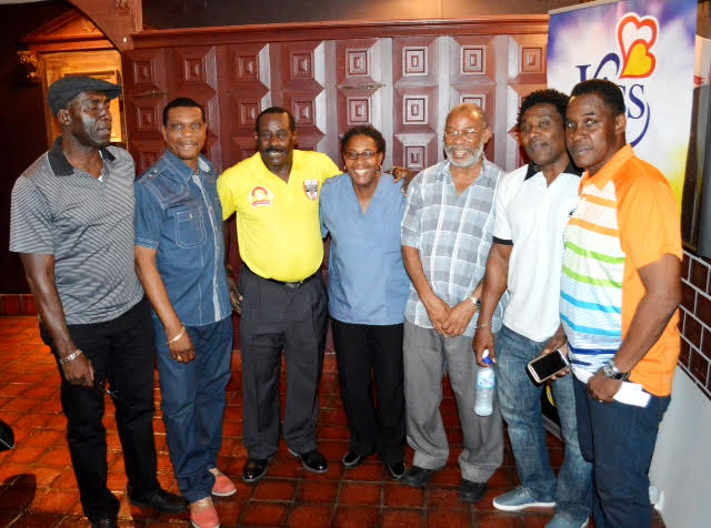 Past T & T National football standouts and some of the finest youth level coaches in Trinidad and Tobago showed their support to the GFFS youth development program. (From left to right): Floyd Lawrence, Kerry Jamerson, Gally Cummings, Desiree Sargeant, Michael Grayson, Marvin Faustin and Ron La Forest.