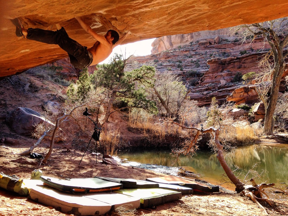 Exhibit A: Nate Davison, master of power toeing, on Zen Garden |V10| in Moab, Utah.