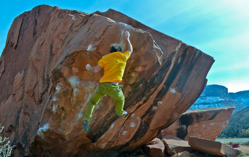 Ty Fuller, a V10 climber, falling off of Circus Trick, a V4 in Moab, Utah. Failure is inevitable and abundant. Use it wisely.
