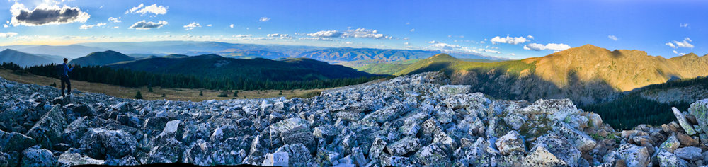 A panorama near the pass. Nate on the left.