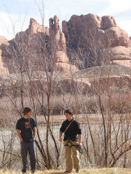 A very old photo of Carlo and I outside of Moab in 2007. Trad climbing...photo by David Allwine.