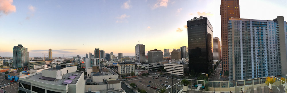 The panoramic view from his apartment, looking towards the ocean. Downtown San Diego, CA.