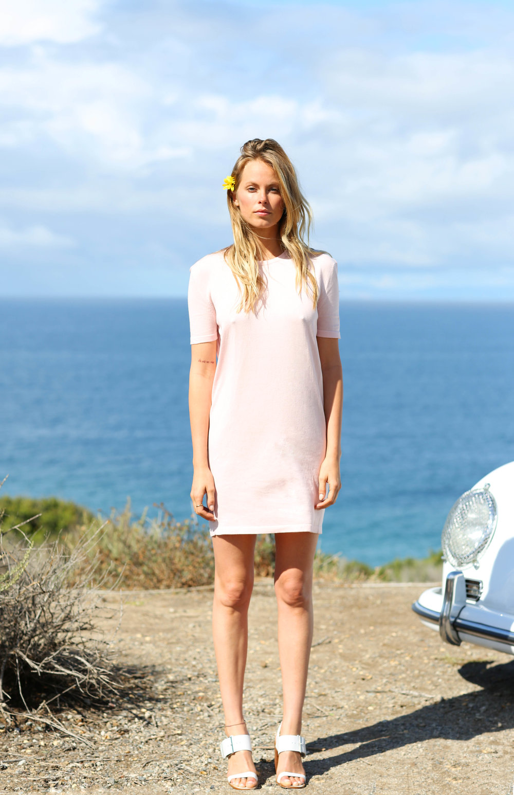 Lauren Mini Dress in Pale Pink
