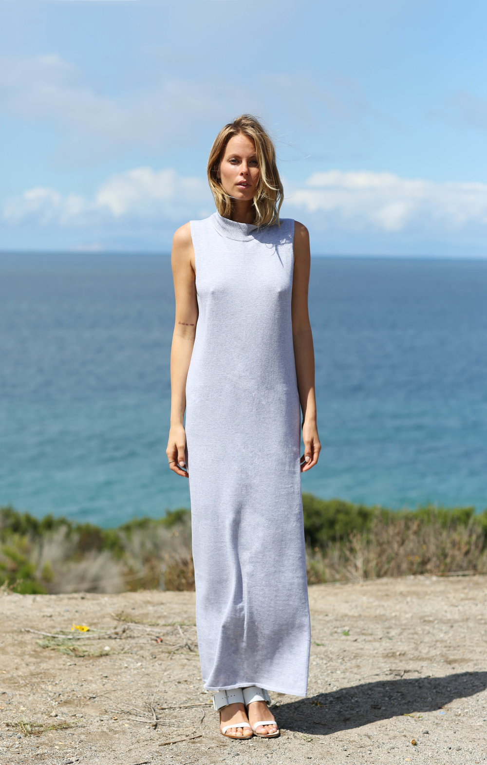 Carl Maxi Dress in Light Heather Grey