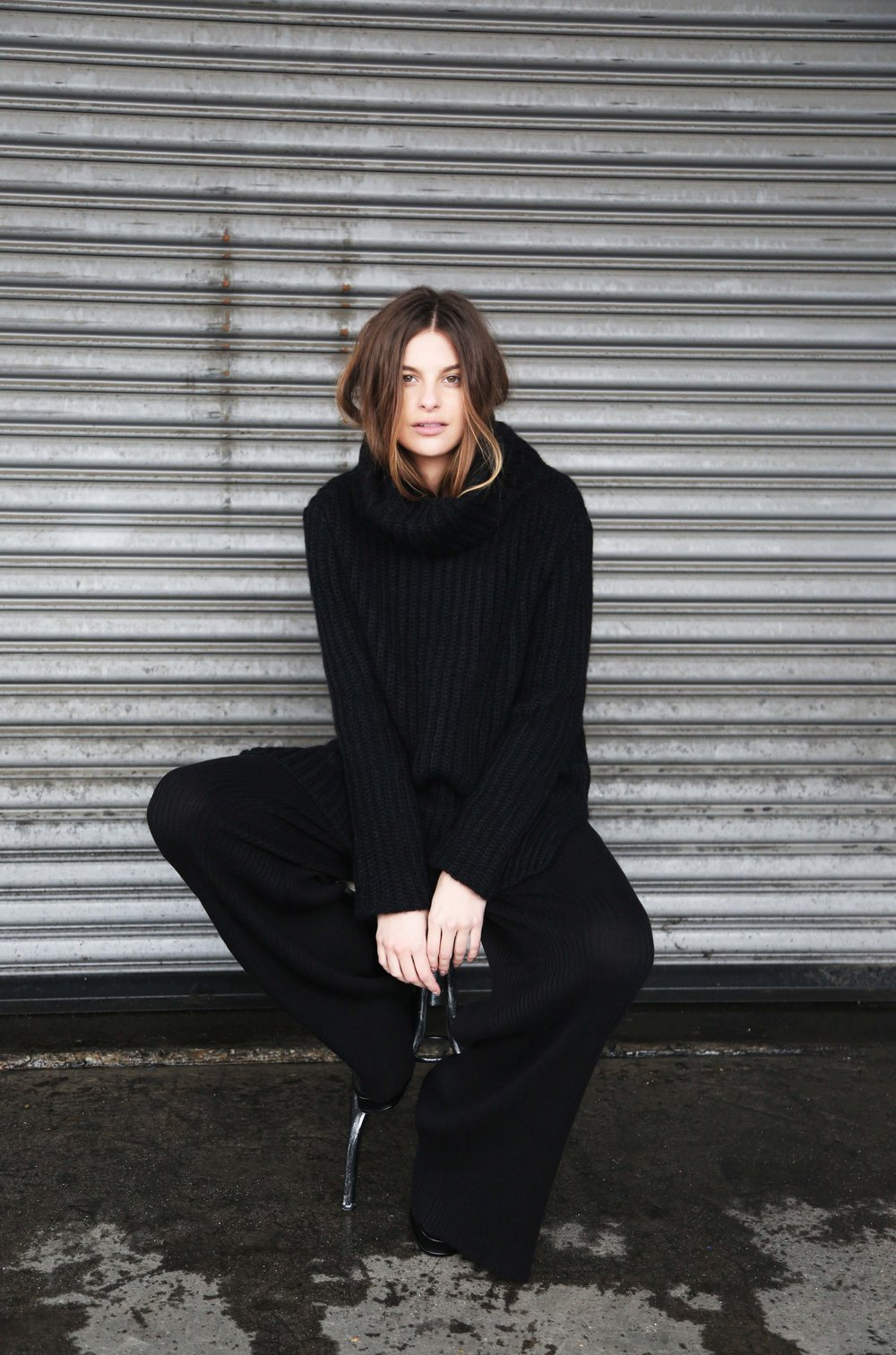 Heidi Turtleneck in Black, Whit Pant in Black