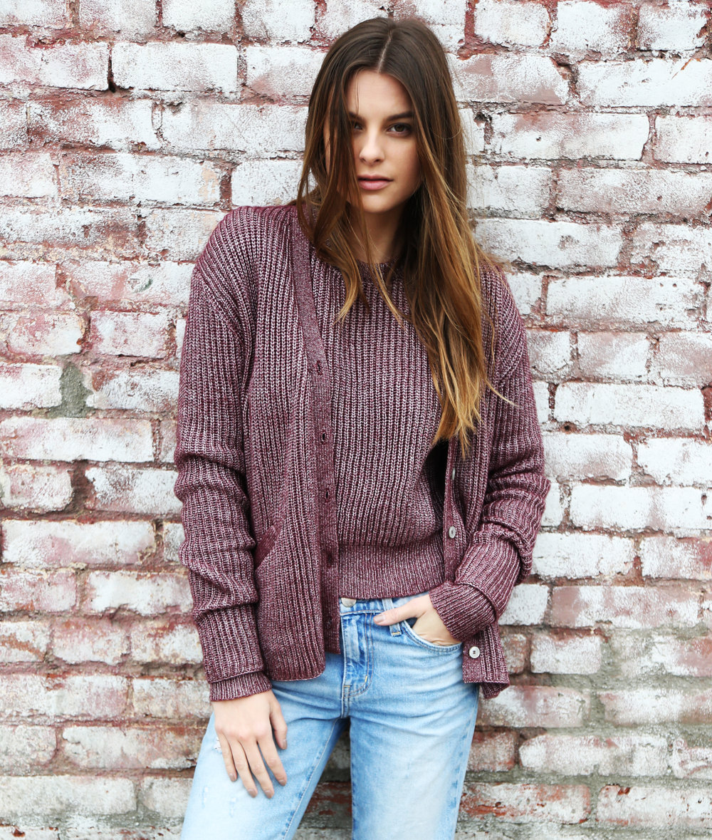 Camden Crew Neck and Kate Cardigan in Oxblood