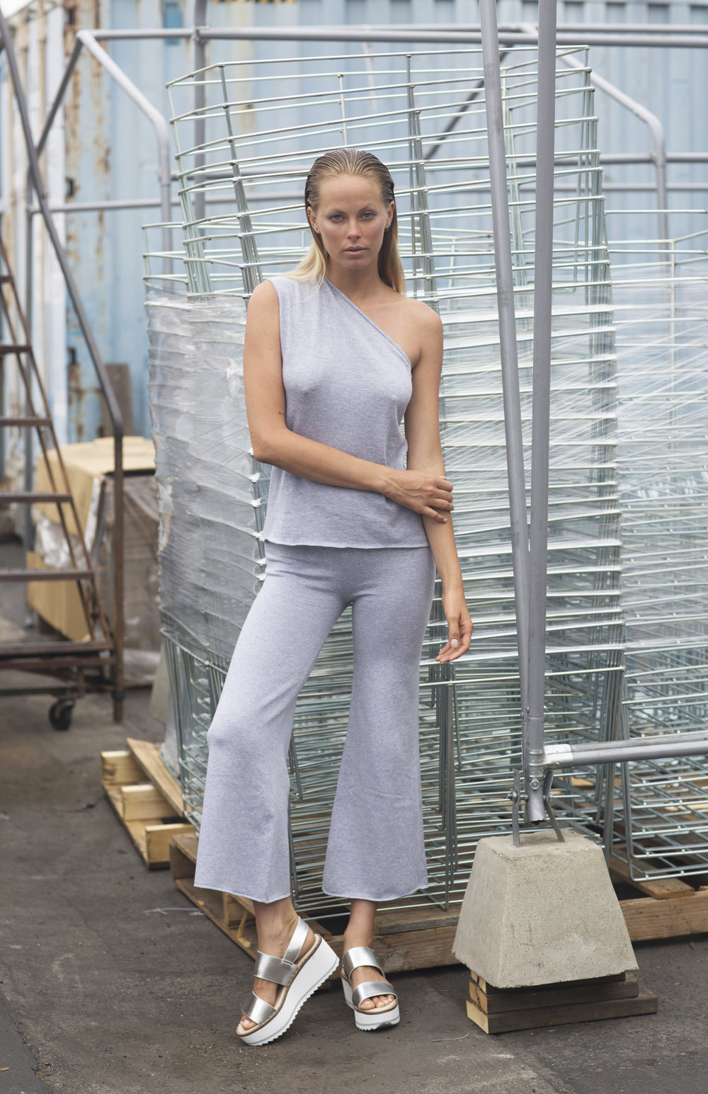 Kenny Tank and Toni Pant in Light Heather Grey