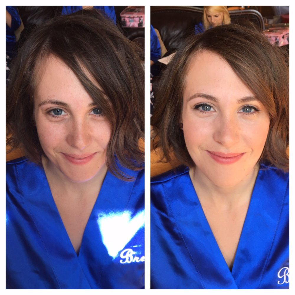 Before and After on Brenna, sister and the Maid of Honor. Brenna told me that she usually doesn't wear makeup, so we went for a very clean, natural look.