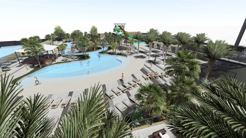 Aquatics Center - The Montecillo Aquatics Center features a pool, a lazy river, waterslides, a splash park, and full food and bar service. This aquatics center will be accessible to all residents of the Montecillo development.
