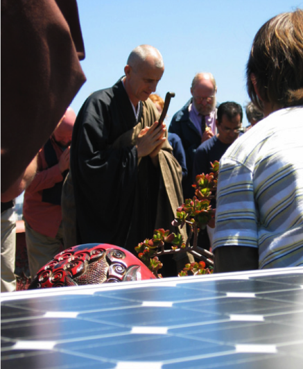 Solar panels for a faith community are blessed.  Energy saving is seen as stewarding God's creation in many churches.