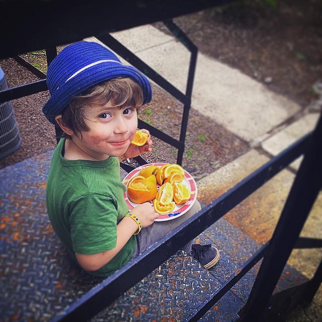 Portland enjoying his favourite snack, fruit!