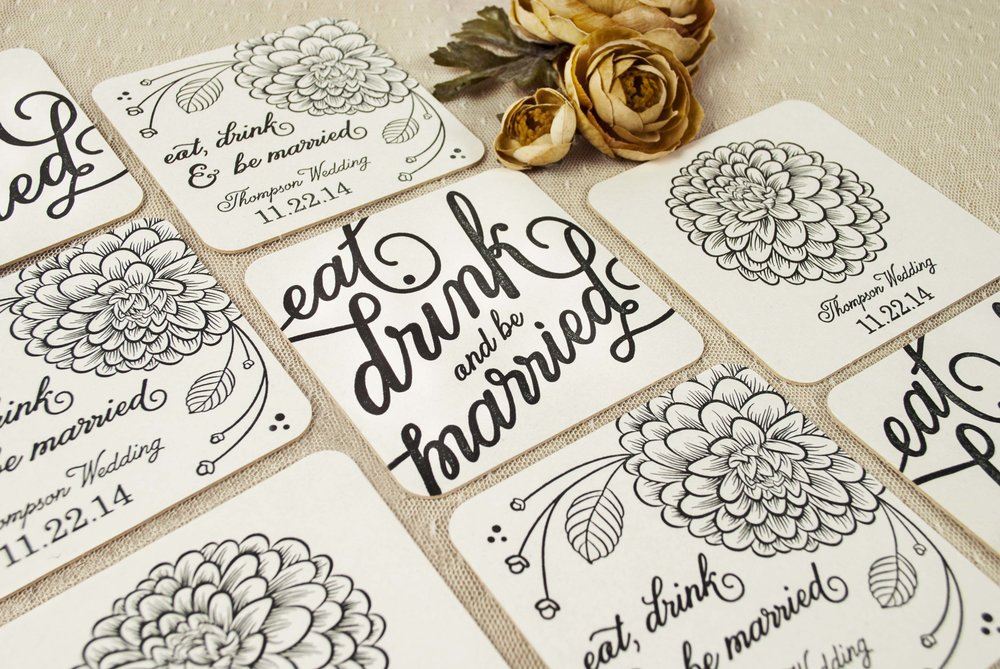 Coaster set for wedding takeaways