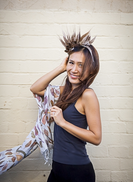 Fine silk 'Scattered Gum Leaves' scarf enhanced with headpiece from  http://embellish-hats.com/