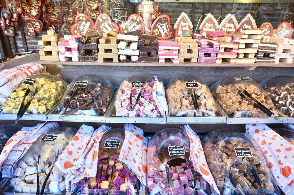 Fudge stand at London Christmas market