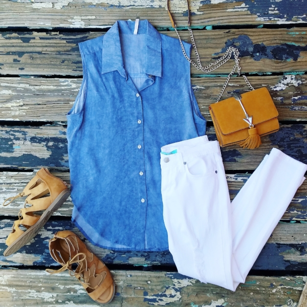 Wear this cute top with white pants or shorts and sandals during the Summer heat, then pair it with black jeans and boots in the Fall.