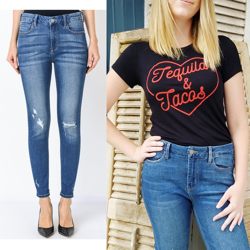 High-rise, lightly distressed, ankle skinny jeans