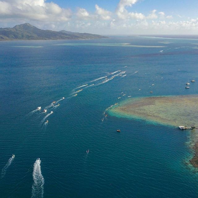 Hawaikinui va'a action! This is a shot of the women competing! Very cool to see them paddle by our boat first thing in the morning. #hawaikinui #va'a #Tahiti #women #womenofthewater #warriorwomen #inspiration #drone #dronephotography