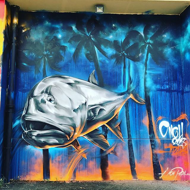 30'x30' street art. #tahiti #ulua #bigfish #southpacific #sailing #fish #streetart
