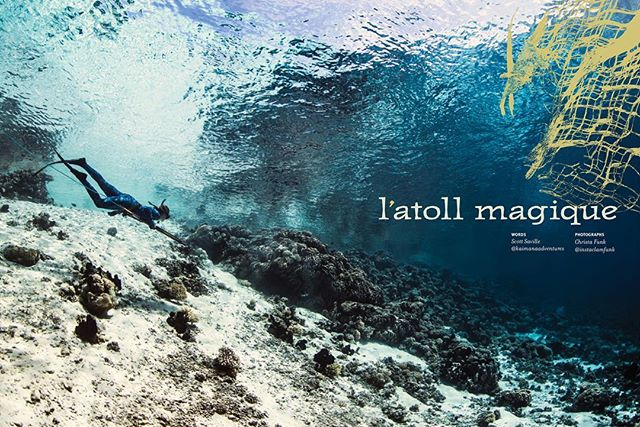 "A big MAHALO to @hawaiiskindivermag for running a story of adventure and discovery in issue #75 hitting news stands soon. The image you see above is the opening spread of the article featuring @melsamahoney as she begins her decent into the beautiful depths of one of our favorite French Polynesian reef passes. I am excited to see my words in print for the first time and hope that you enjoy the tale of ""l'atol magique"" If you can't bear to read the story, I know you will enjoy the images captured by the talented and hard working @instaclamfunk who joined us for a couple of action packed weeks on @kaimanaadventures this past season. #freediving #sailing #fish #spearfishing #adventure #apprication #dream #go #big #apnea @giligear @james_and_joseph @hanapaafishingco"