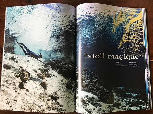 So exciting to our story in print! Here is a little sneak peak, a few pages from the article of this fun adventure written by @flounderscottsaville with beautiful photos by @instaclamfunk in issue 75 of @hawaiiskindivermag . Big thanks to our whole crew of friends who were there and part of the action! Dusty, Adrien, Jo,  @Sailingslow and to @57longroof for including this story in your issue! #stoked #sailing #lifeatsea #spearfishing #freediving #explore #underwater  #apnea #onebreath #dogtooth #uku #lobster #underwaterphotography #spearchannel #sandfworld