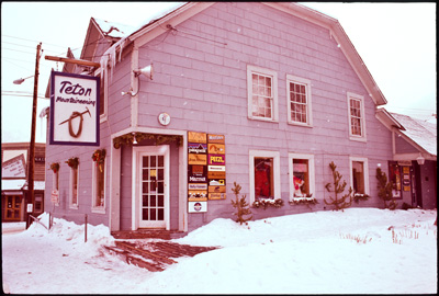 The Original Storefront.  The old sign is now on display inside the our only location, 170 North Cache in Jackson.