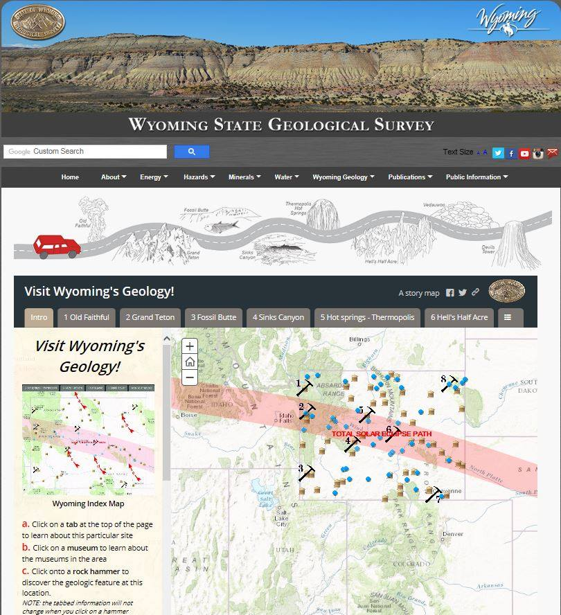 Wyoming Geological Survey Eclipse Path With Geological Features