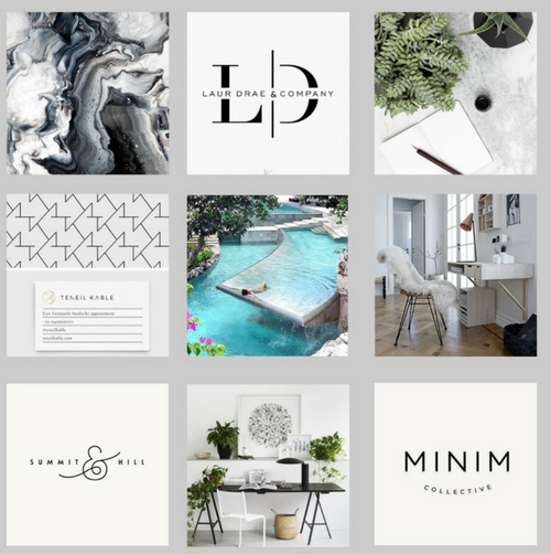 Brand Mood Board:The color palette is clean and modern with black, grey, muted green and a hint of light blue.