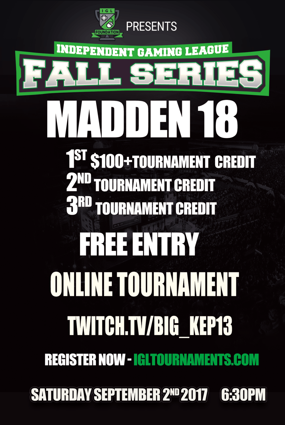 - The Madden Preseason are free tournaments that we will host online through igltournaments.com. Players will have the opportunity to test the Madden League waters by playing with competitors from all over and identifying what type of competition they will be up against!   Top three players will all be awarded Free tournament entry credits into the first week of the Madden League Tournament.