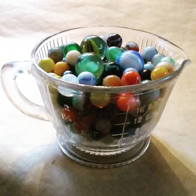 New vintage at Thistle just in time for holiday baking! Vintage 2c. Measuring Cup! Marbles not included. #measuringcup #baking #cooking #kcthistle.net