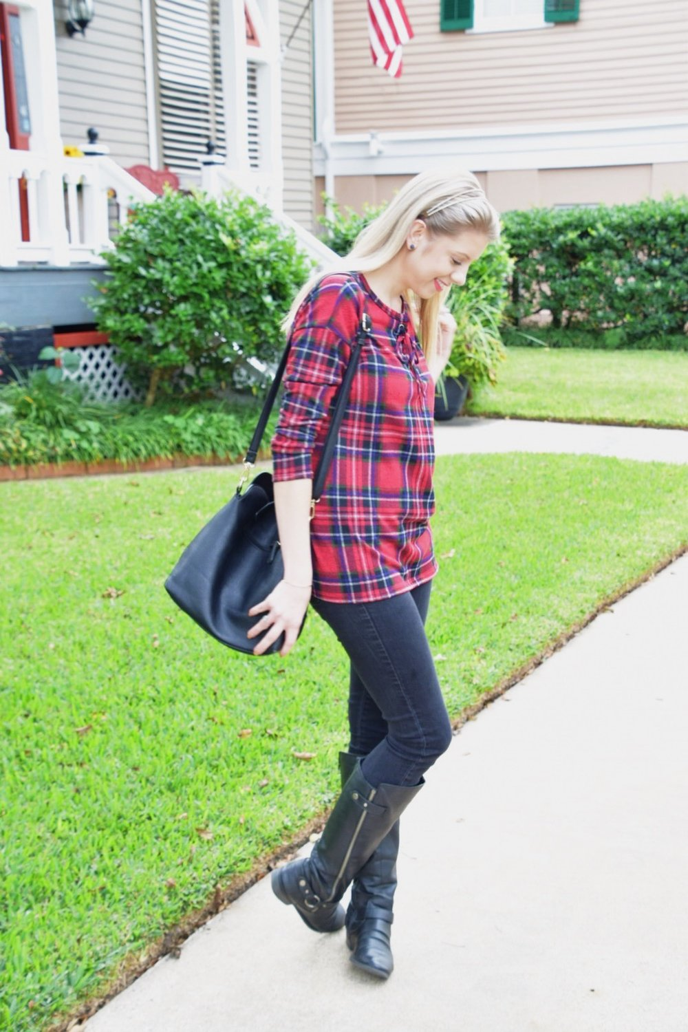 Houston Fashion Blogger - Shop PinkBlush - Plaid Shirt (3).JPG