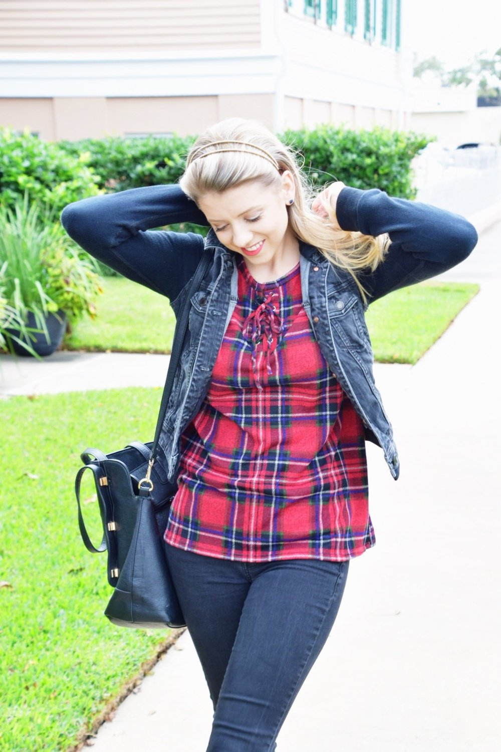 Houston Fashion Blogger - Shop PinkBlush - Plaid Shirt (5).JPG