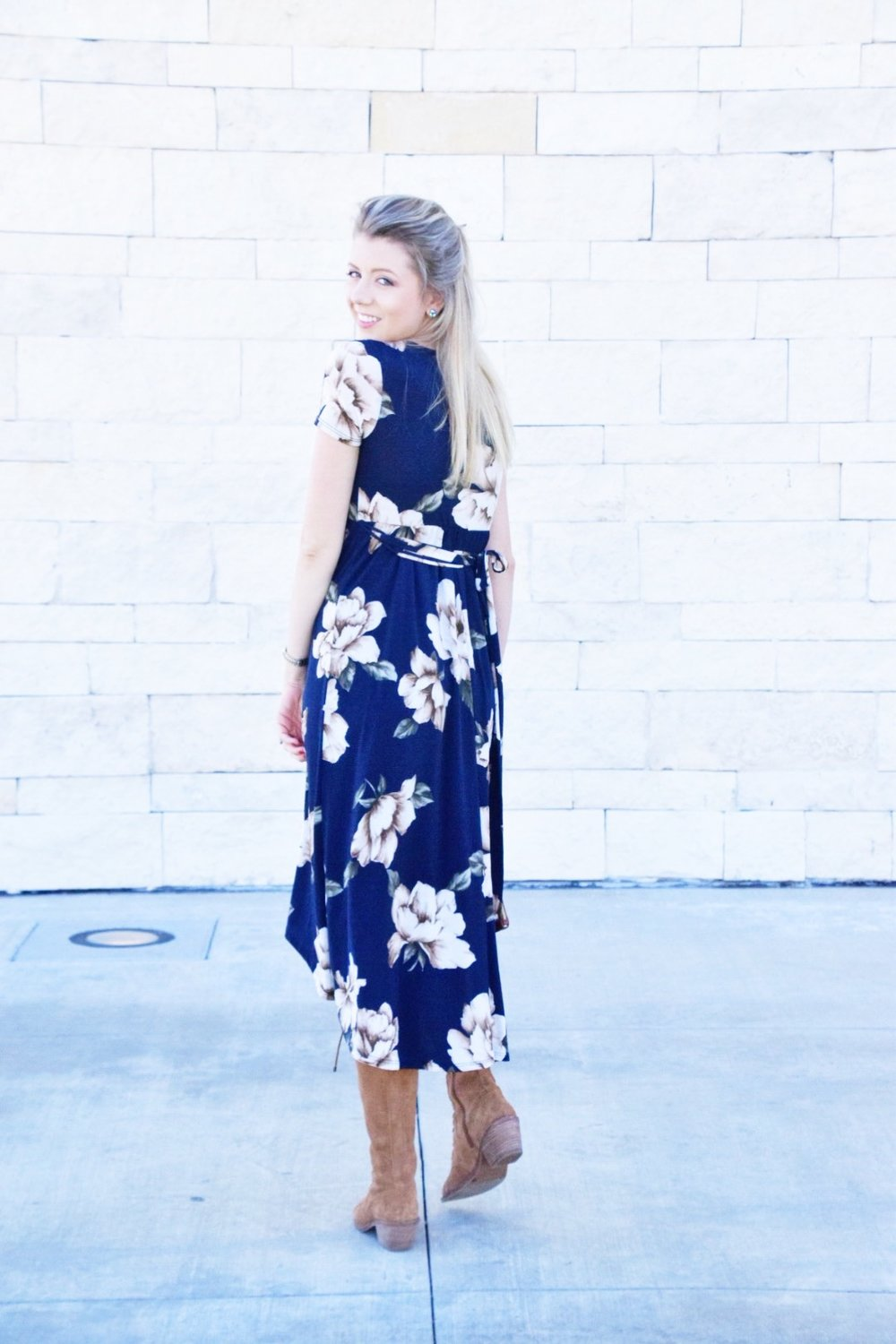Shop PinkBlush Giveaway -Navy Floral Hi-Low Midi Wrap Dress - Houston Fashion Blogger (9).JPG