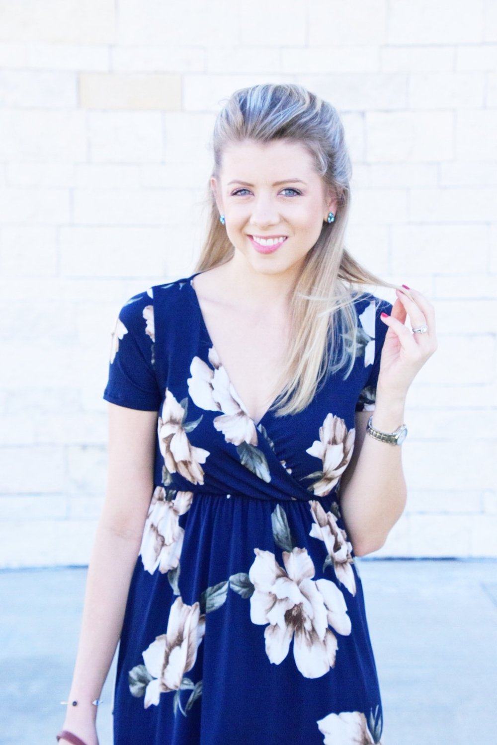 Shop PinkBlush Giveaway -Navy Floral Hi-Low Midi Wrap Dress - Houston Fashion Blogger (1).JPG