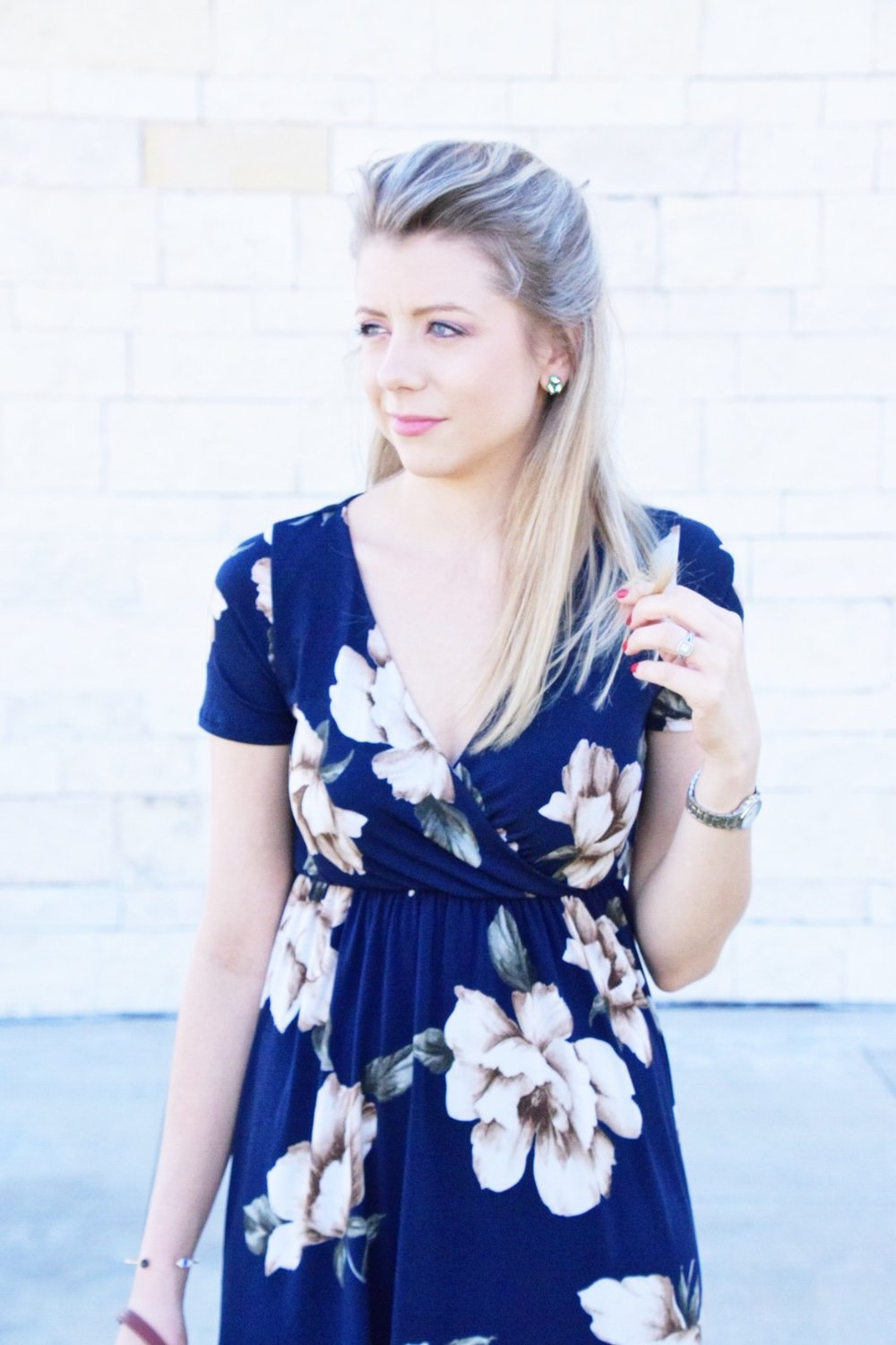 Shop PinkBlush Giveaway -Navy Floral Hi-Low Midi Wrap Dress - Houston Fashion Blogger (4).JPG